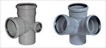 Фитинг двухплоскостной для внутренней канализации