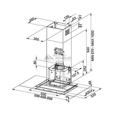 FRANKE Вытяжка настенная GLASS LINEAR FGL 6015 XS нержавейка (110.0152.535)