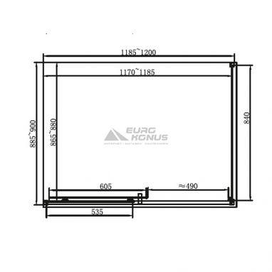 DUSEL Душевая кабина без поддона прозрачная 1200x900x1900 мм EF-185B+181B black matt