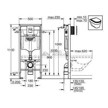 GROHE Инсталляция для унитаза Rapid SL (38827000)