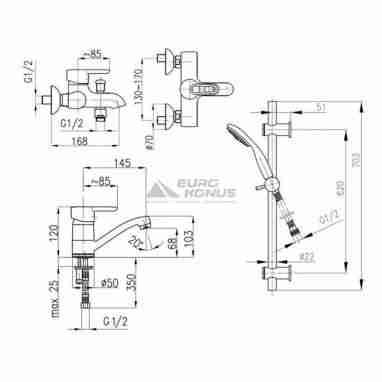 ARMATURA Комплект для ванной комнаты Bazalt (4701-001-00)