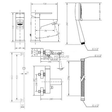 GENEBRE Комплект для ванной комнаты Kenjo (04KEV17)