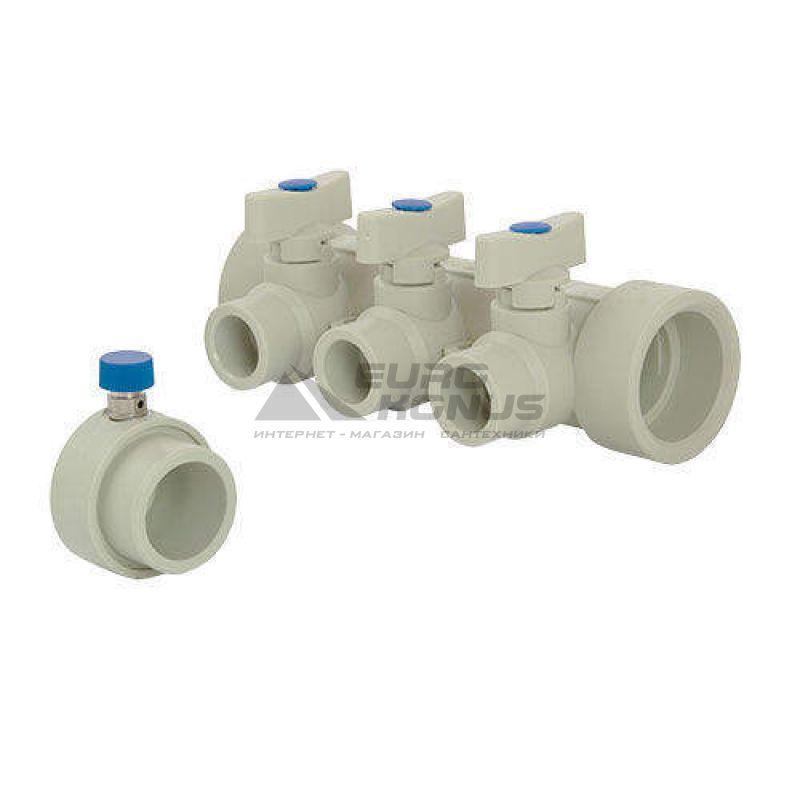 FADO Коллектор с шаровыми кранами полипропиленовый на 2 выхода 40*х20* (PKW02)