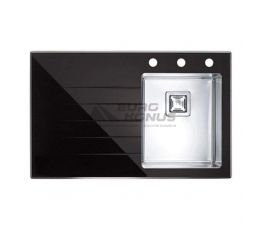 ALVEUS Мойка врезная для кухни Crystalix 10R левое крыло черное стекло (1070312)