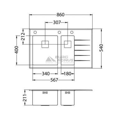 ALVEUS Мойка врезная для кухни Crystalix 20L правое крыло черное стекло (1070314/1099641)