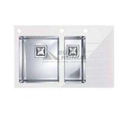 ALVEUS Мойка врезная для кухни Crystalix 20L правое крыло белое стекло (1070315/1099642)