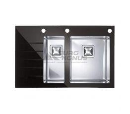 ALVEUS Мойка врезная для кухни Crystalix 20R левое крыло черное стекло (1070316/1099635)