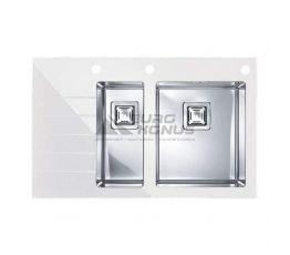 ALVEUS Мойка врезная для кухни Crystalix 20R левое крыло белое стекло (1070318/1099640)