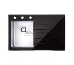 ALVEUS Мойка врезная для кухни Crystalix 10L правое крыло черное стекло (1099633)