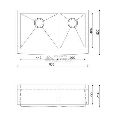 KRAUS Мойка под столешницу для кухни KHF203-33 с передним фартуком без крыла матовая