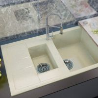 MOKO Мойка врезная для кухни Granite Milano оборотная beige