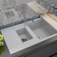 MOKO Мойка врезная для кухни Granite Milano оборотная nebbia