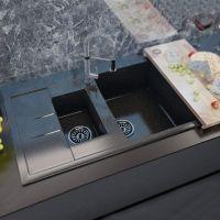 MOKO Мойка врезная для кухни Granite Milano оборотная nero brilliante