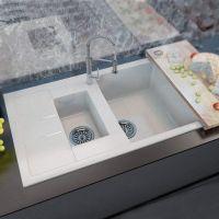 MOKO Мойка врезная для кухни Granite Milano оборотная vanilla
