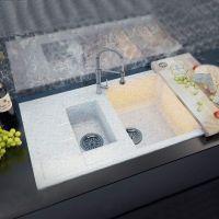 MOKO Мойка врезная для кухни Premium Milano оборотная cristallo