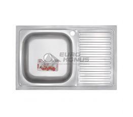ZERIX Мойка накладная для кухни Z8050L-08-180E Satin правое крыло матовая