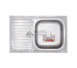 ZERIX Мойка накладная для кухни Z8050R-08-180E Satin левое крыло матовая