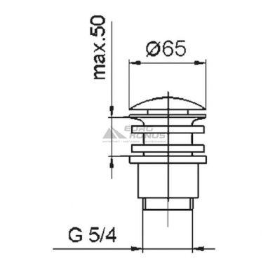 ARMATURA Клапан сливной металлический (большой) клик-клак ф65 (660-254-00)