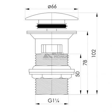 IMPRESE Клапан сливной для раковин pop-up Podzimu Zrala (ZMK02170850)