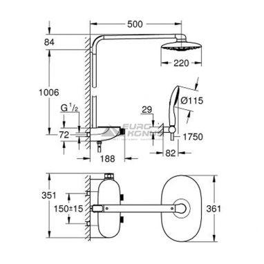 GROHE Душевая система термостатическая настенная Rainshower Smartcontrol 360 Mono (26361000)