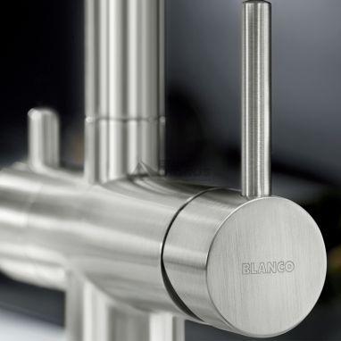 BLANCO Смеситель для кухни на две воды двухрычажный с выдвижным изливом FONTAS-S II UltraResist нерж (525199)