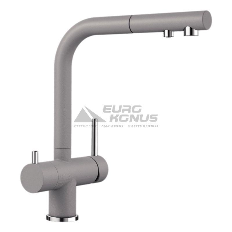 BLANCO Смеситель для кухни на две воды двухрычажный с выдвижным изливом FONTAS-S II алюметаллик (525201)