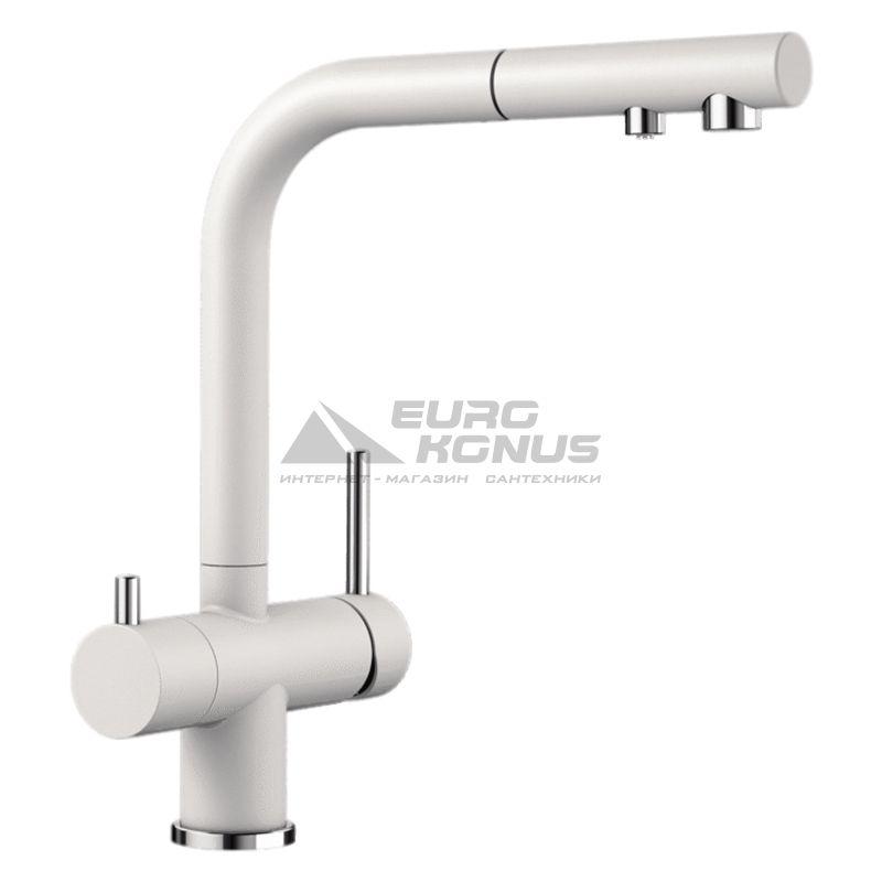 BLANCO Смеситель для кухни на две воды двухрычажный с выдвижным изливом FONTAS-S II белый (525204)