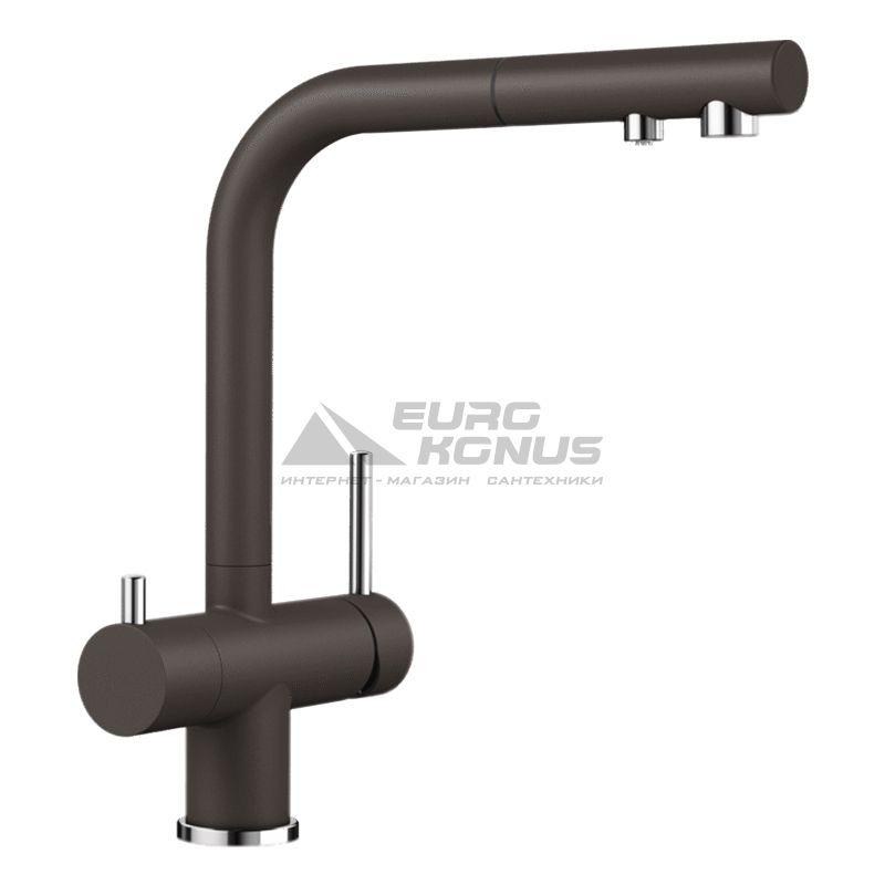 BLANCO Смеситель для кухни на две воды двухрычажный с выдвижным изливом FONTAS-S II кофе (525205)