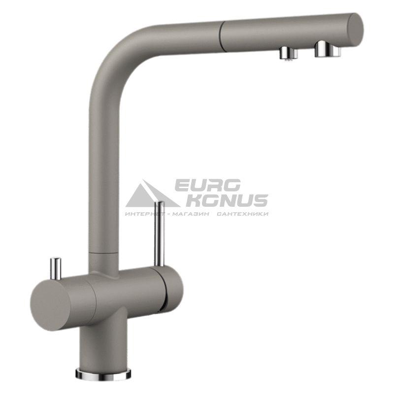 BLANCO Смеситель для кухни на две воды двухрычажный с выдвижным изливом FONTAS-S II серый беж (525206)