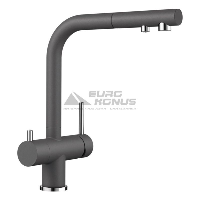 BLANCO Смеситель для кухни на две воды двухрычажный с выдвижным изливом FONTAS-S II темная скала (525207)