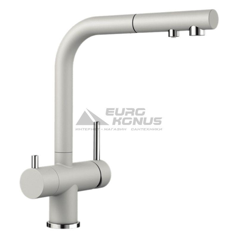 BLANCO Смеситель для кухни на две воды двухрычажный с выдвижным изливом FONTAS-S II жемчужный (525208)