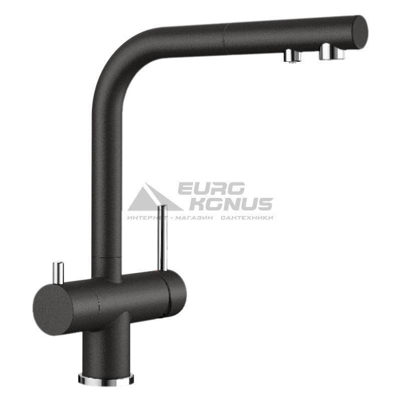 BLANCO Смеситель для кухни на две воды двухрычажный с выдвижным изливом FONTAS-S II черный (526158)