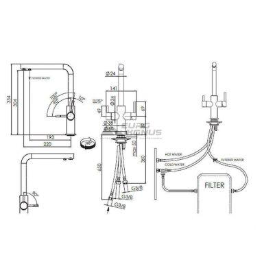 FRANKE Смеситель для питьевой воды двухрычажный NEPTUNE CLEAR WATER хром/сахара (115.0370.708)