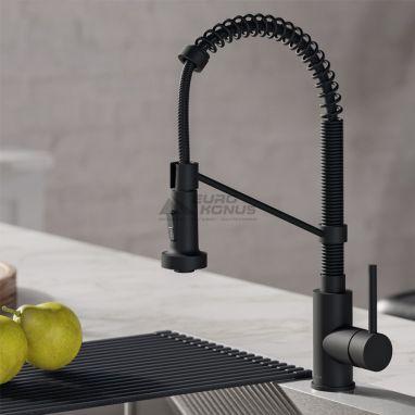 KRAUS Смеситель для кухни однорычажный с гибким изливом Bolden KPF-1610 MB черный