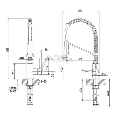 KRAUS Смеситель для кухни однорычажный с гибким изливом Bolden KPF-1610 CH хром