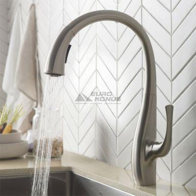 KRAUS Смеситель для кухни однорычажный с выносным шлангом Ansel KPF-1675 SFS сатин