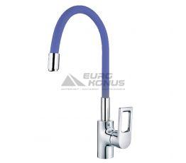 MIXXUS Смеситель для кухни однорычажный с гибким изливом Premium Rainbow 025 Blue гайка