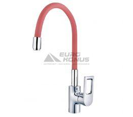 MIXXUS Смеситель для кухни однорычажный с гибким изливом Premium Rainbow 025 Red гайка