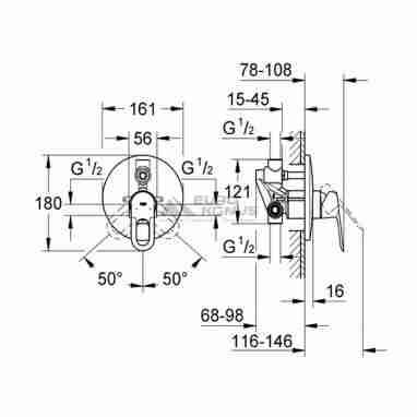 GROHE Смеситель для ванны однорычажный скрытого монтажа Bau Loop (29081000)