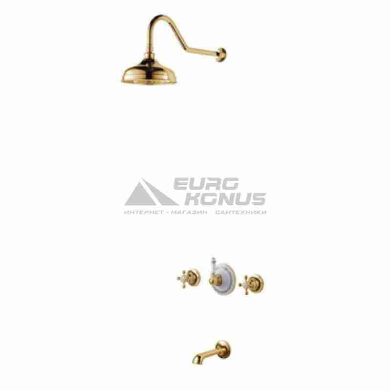 KRAUS Душевая система двухвентильная встроенная Apollo KEF-16054 G золото