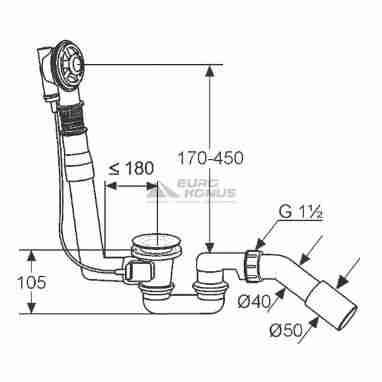 "KLUDI Сифон для ванны с переливом 1 1/2"" x 40/50 Rotexa 2000 (2135300-00)"