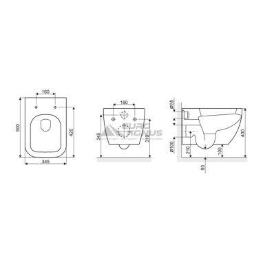 EXCELLENT Унитаз подвесной Ness (CENL.3504.500.WH)