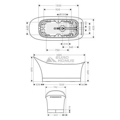 AXOR Ванна отдельностоящая ассиметричная Urquiola (11440000)